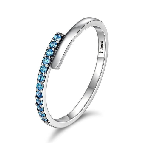 925 Sterling Silver Geometric Melody Blue Sparking CZ Finger Rings
