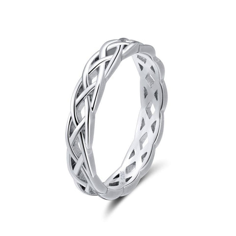925 Sterling Silver Unique Twisted Shape Round Ring