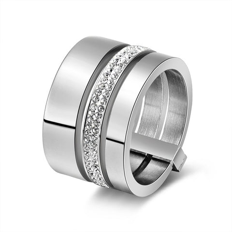 Stainless Steel 15mm Big 3 Layers Ring