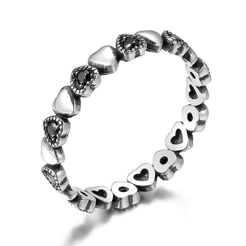 925 Sterling Silver Stackable Ring Heart Black CZ Finger Ring