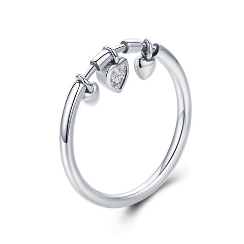 925 Sterling Silver Glittering Heart Clear Ring