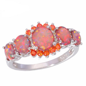 Luxe Fire Opal Ring Silver Plated Oval Round Stone