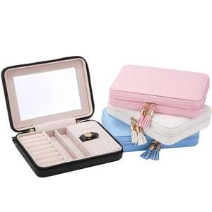 Small Portable Jewelry Organizer Box Travel With Mirror