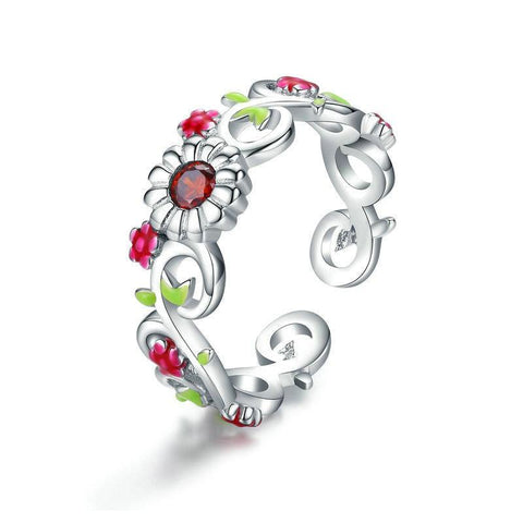 Adjustable Flower Ring - 925 Sterling Silver