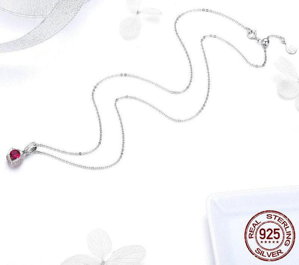 Romantic Red Stone Flower - 925 Sterling Silver