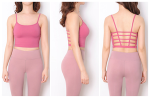 cage strap top with built in bra for yoga and fitness in Hong Kong