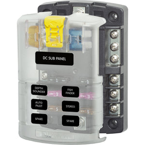 Blue Sea 5025 ST Blade Fuse Block w/Cover - 6 Circuit w/Negative Bus [5025]