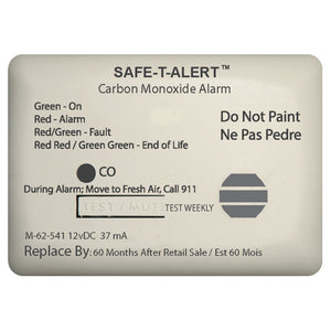 Safe-T-Alert 62 Series Carbon Monoxide Alarm w/Relay - 12V - 62-541-Marine-RLY-NC - Surface Mount - White [62-541-MARINE-RLY-NC]
