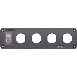 Blue Sea Water Resistant USB Accessory Panel - 15A Circuit Breaker, 4x Blank Apertures [4369]