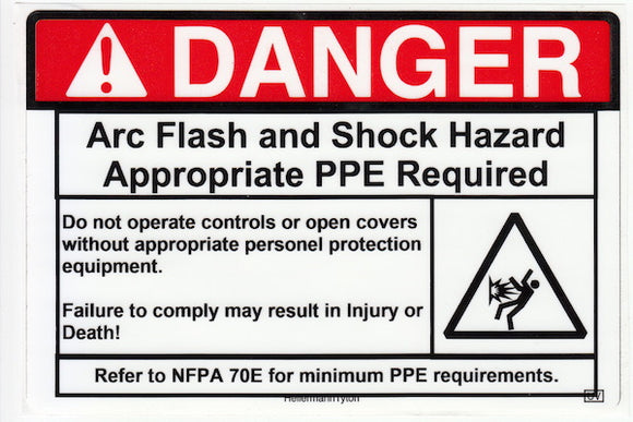 110.16 Arc-Shock Hazard Danger Vinyl Label<br>(UV materials)