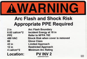 110.16 Arc-Flash Hazard with Data Vinyl Label<br>(UV materials)