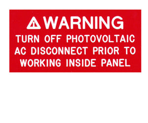 110.27(c) Turn Off Photovoltaic AC Engraved Label<br>(UV Acrylic)