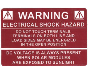 690.17 Switch or Circuit Breaker PV Warning Vinyl Label<br>(HT 596-00232)