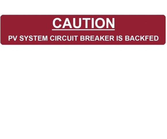 690.64 PV System Breaker Backfed Vinyl Label<br>(HT 596-00236)