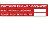 690.54 Photovoltaic AC Disconnect Vinyl Label<br>(HT 596-00239)