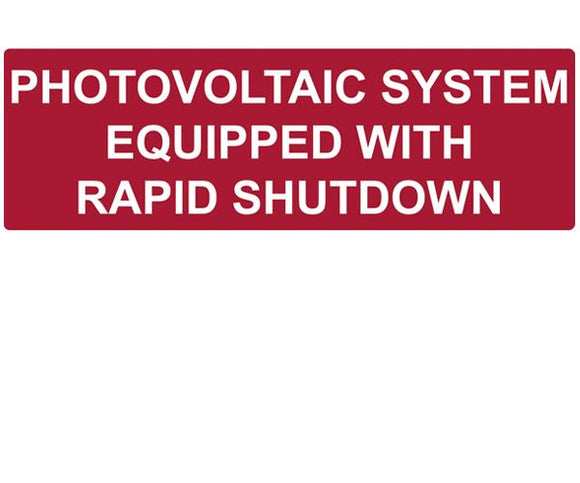 690.12 Rapid Shutdown Reflective Vinyl Label<br>(HT 596-00474)