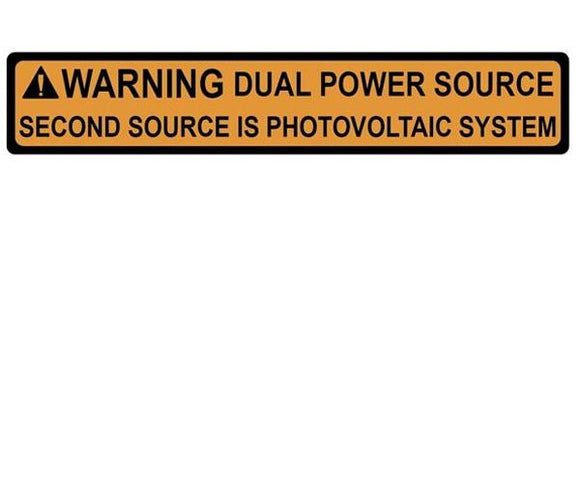 705.12(D)3 Dual Power Source Vinyl Label<br>(HT 596-00495)