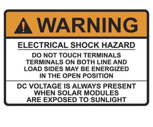 690.17 Switch or Circuit Breaker PV Warning Vinyl Label<br>(HT 596-00496)
