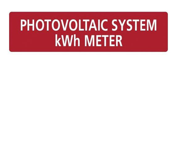 Photovoltaic System kWh Meter Vinyl Label<br>(HT 596-00737)