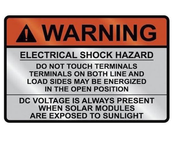 690.17 Switch or Circuit Breaker PV Warning Metal Label<br>(HT 596-00829)