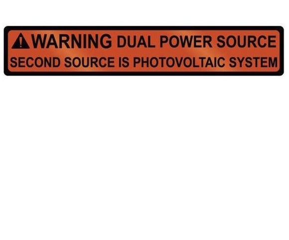 705.12(D)3 Dual Power Source Metal Label<br>(HT 596-00833)