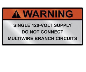 690.10(C) 120-volt Supply Metal Label<br>(HT 596-00837)