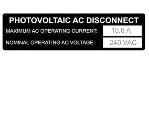 690.54 Photovoltaic AC Disconnect Metal Label<br>(HT 596-00838)