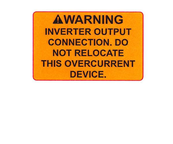 690.64(B)(7) Inverter Output Connection Vinyl Label<br>(HT 596-00846)