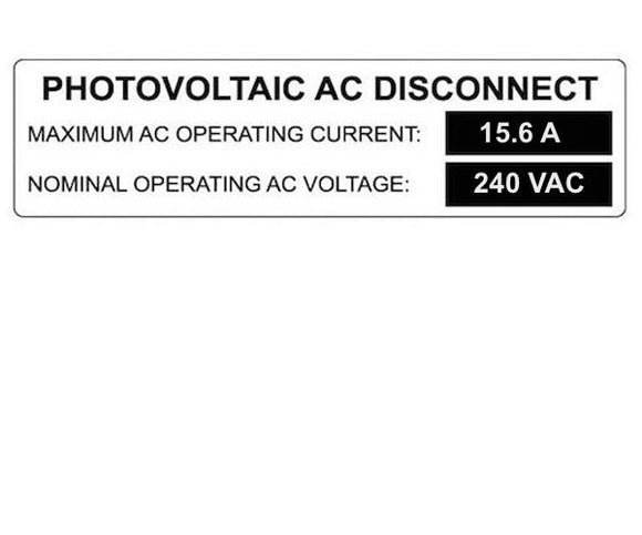 690.54 Photovoltaic AC Disconnect Metal Label<br>(HT 596-00859)