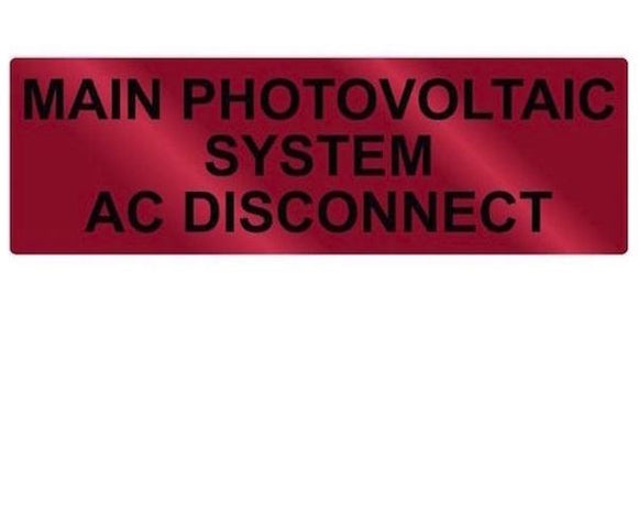 690.14(C) Main PV System AC Disconnect Metal Label<br>(HT 596-00861)