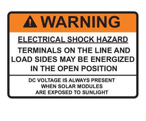 690.13(B) Switch or Circuit Breaker PV Warning Vinyl Label<br>(HT 596-00879)