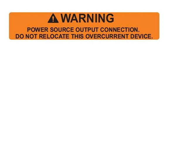 705.15 (B)(2)(c) Power Source Output Vinyl Label<br>(HT 596-00880)
