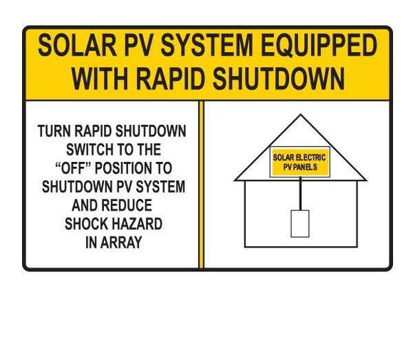 690.56 Rapid Shutdown Reflective Vinyl Label<br>(HT 596-00885)