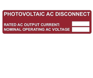 690.54 Photovoltaic AC Disconnect Vinyl Label<br>(HT 596-00892)