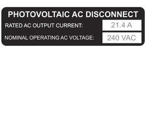 690.54 Photovoltaic AC Disconnect Metal Label<br>(HT 596-00919)