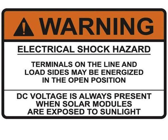 690.17 Switch or Circuit Breaker PV Warning Metal Label<br>(HT 596-00920)
