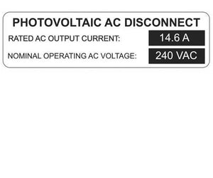 690.54 Photovoltaic AC Disconnect Metal Label<br>(HT 596-00923)