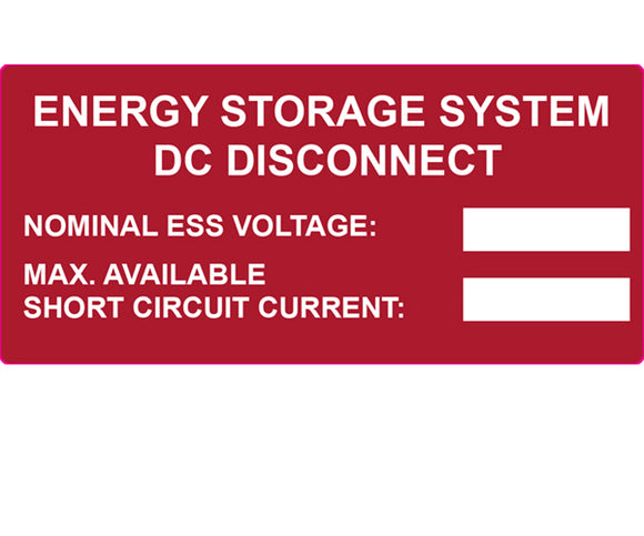 690.53 PV Energy Storage Disconnect Vinyl Label<br>(HT 596-00987)