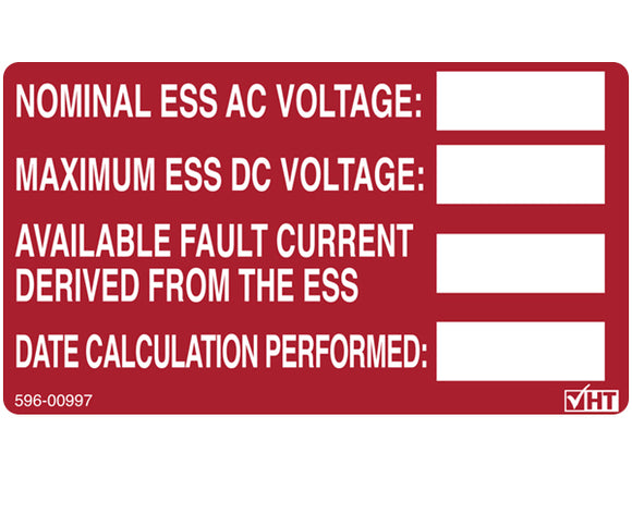 706.15 PV Energy Storage System Vinyl Label<br>(HT 596-00997)