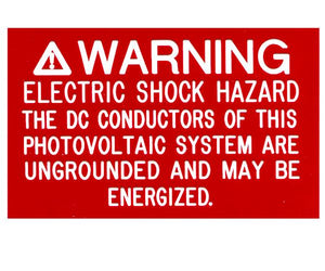 690.35(F) Ungrounded PV System Engraved Label<br>(UV Acrylic)