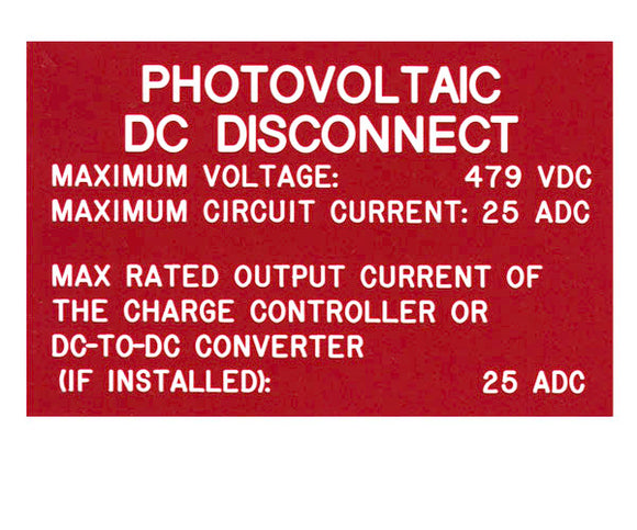 690.53 DC PV System Data 2017 Engraved Label<br>(UV Acrylic)