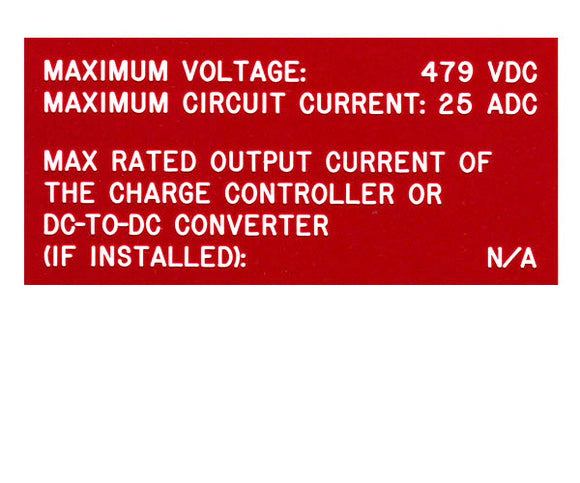 690.53 DC PV System Data 2017 V2 Engraved Label<br>(UV Acrylic)