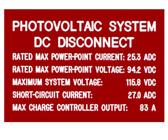 690.53 DC PV System Source Engraved Label<br>(UV Acrylic)