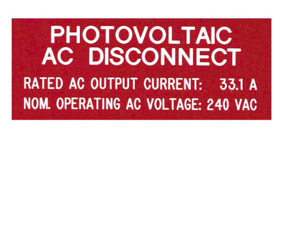 690.54 Photovoltaic AC Disconnect 2017 Engraved Label<br>(UV Acrylic)