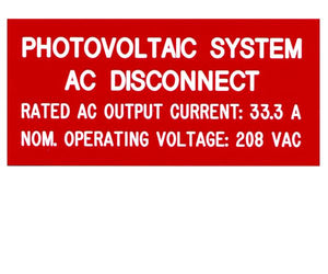 690.54 Photovoltaic AC Disconnect Engraved Label<br>(UV Acrylic)