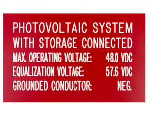 690.55 PV Systems with Storage Engraved Label<br>(UV Acrylic)