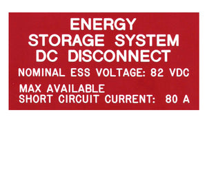 690.55 Energy Storage Engraved Label<br>(UV Acrylic)