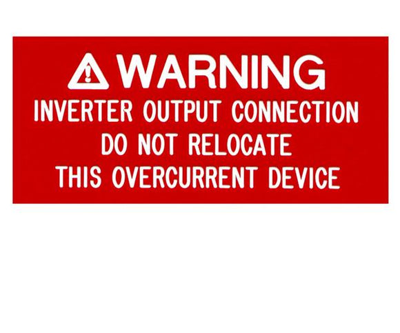 690.64 Inverter Output Connection Engraved Label<br>(UV Acrylic)
