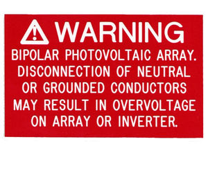690.7(E) Bipolar PV Engraved Label<br>(UV Acrylic)