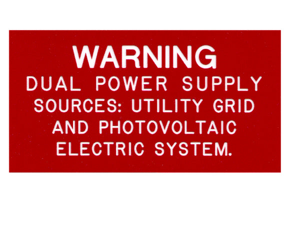 705.12(D)3 Dual Power Source V2 Engraved Label<br>(UV Acrylic)